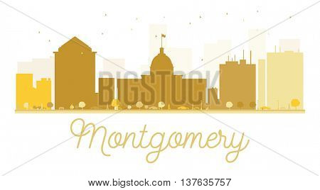 Montgomery City skyline golden silhouette. Simple flat concept for tourism presentation, banner, placard or web site. Business travel concept. Montgomery isolated on white background