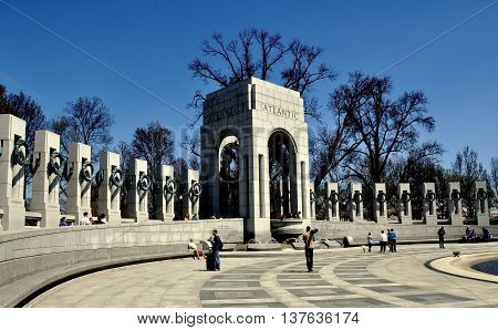 Washington DC - April 10 2014: The Atlantic Pavilion at the World War II memorial on the National Mall