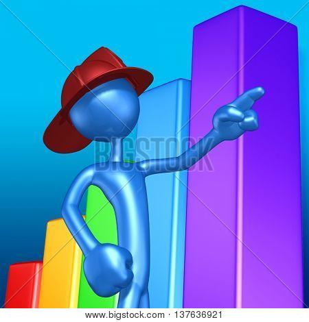 Fireman Character 3D Illustration
