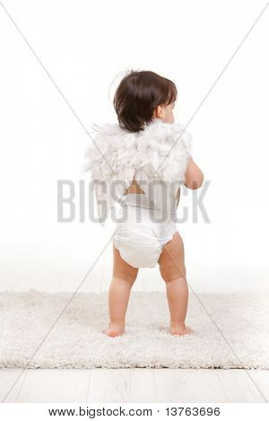 One year old baby girl in angel wing costume and diaper. Back view, isolated on white background.?