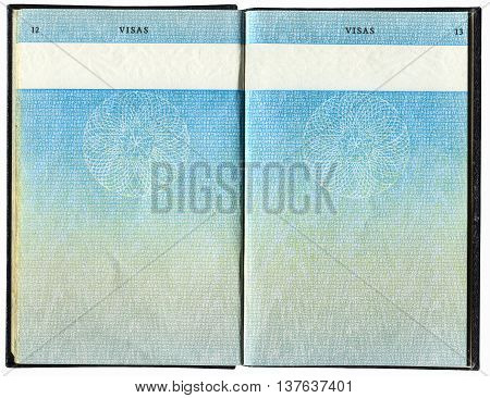 SAMARA, RUSSIA - MAY 14, 2016: Pages for visas marks of old British Passport as background