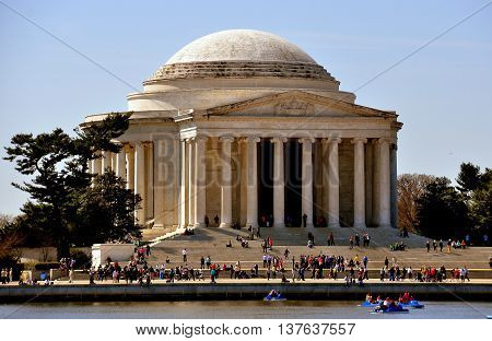 Washington DC - April 10 2014: View across the Tidal Basin to the Jefferson Memorial on a Spring morning *