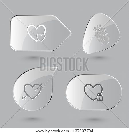 4 images: careful heart,  and arrow, human, closed. Heart shape set. Glass buttons on gray background. Vector icons.