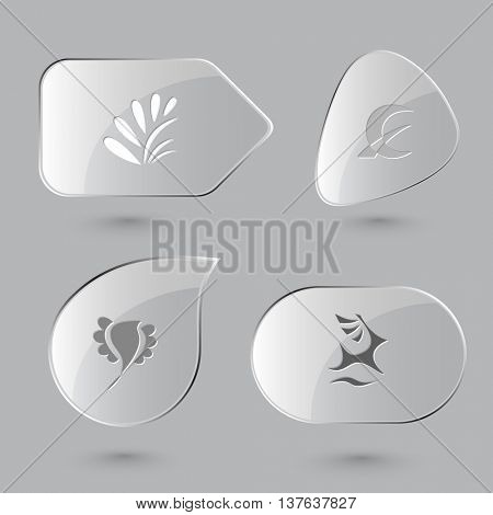 4 images: plant, monetary sign, bird, deer. Abstract set. Glass buttons on gray background. Vector icons.