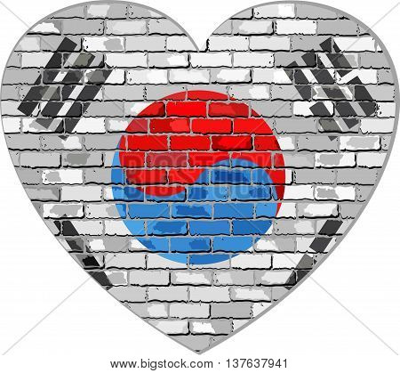 Flag of South Korea on a brick wall in heart shape - Illustration, Korean flag in brick style,  Abstract grunge Korea flag