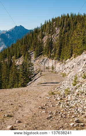 An old mountain road on Sulphur Mountain in Banff National Park.