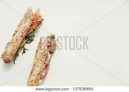 Baguette sandwich on the table
