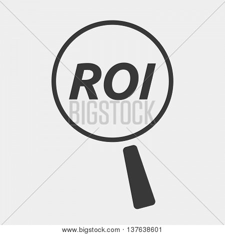 Isolated Magnifying Glass Icon Focusing    The Return Of Investment Acronym Roi
