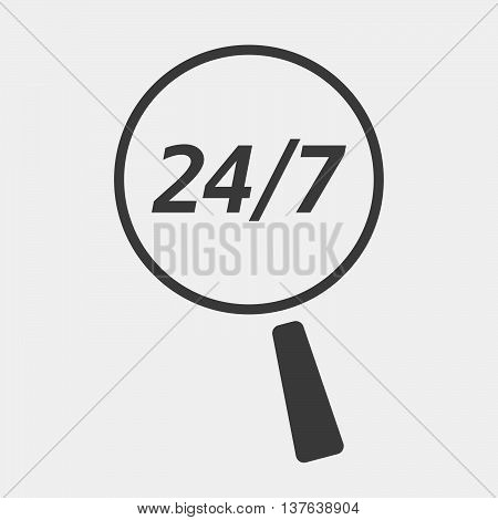Isolated Magnifying Glass Icon Focusing    The Text 24/7