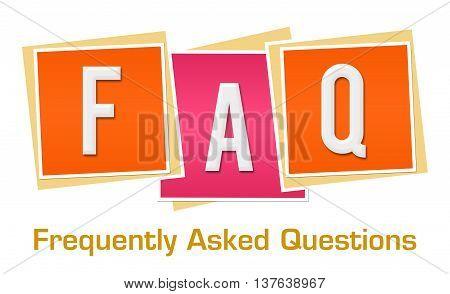 FAQ text alphabets written over pink orange background.