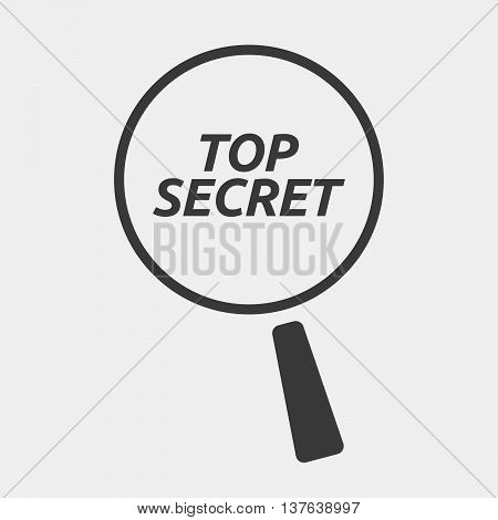 Isolated Magnifying Glass Icon Focusing    The Text Top Secret
