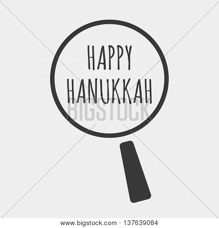 Isolated Magnifying Glass Icon Focusing    The Text Happy Hanukkah