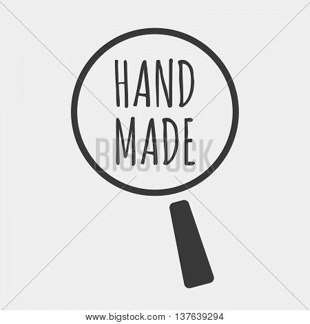 Isolated Magnifying Glass Icon Focusing    The Text Hand Made