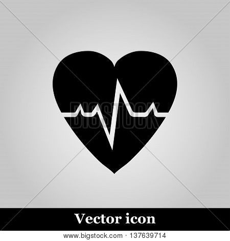 Pulse hearth icon on grey background, vector illustration