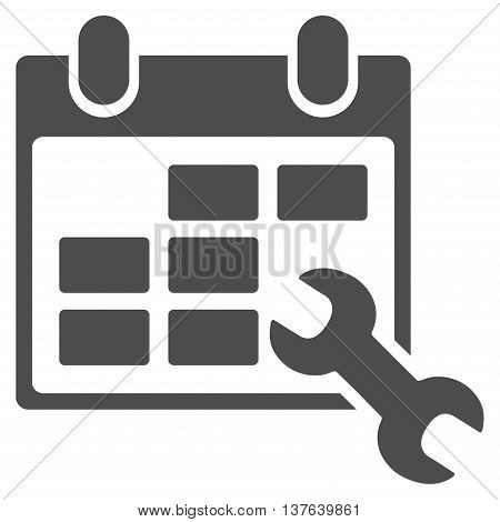 Configure Timetable vector icon. Style is flat symbol, gray color, rounded angles, white background.