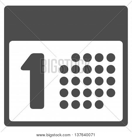 First Day vector icon. Style is flat symbol, gray color, rounded angles, white background.
