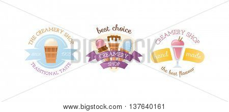 Icecream badge food logo vector illustration.