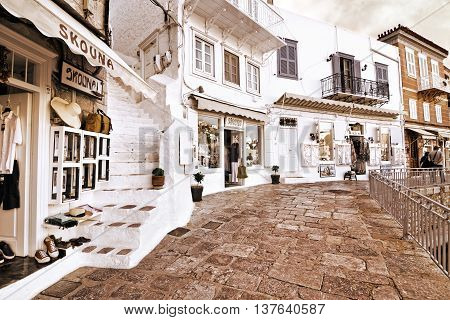 HYDRA ISLAND GREECE, MAY 27 2016: sepia photography of shops at Hydra island Saronic Gulf Greece. Editorial use.
