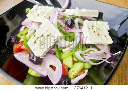 traditional greek mediterranean salad with the greek cheese feta