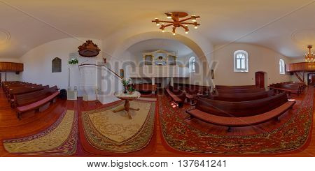 360 panorama of the restored and refurnished Reformed Church in Sântioana de Mureș (Csittszentiván), Mureș County, Transylvania, Romania, shot on September 20th, 2015