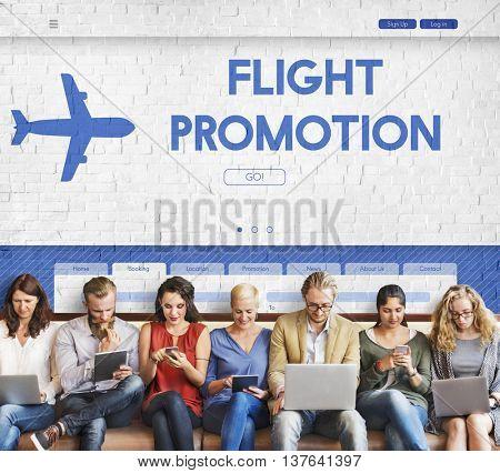 Flight Promotion Offer Plane Traveling Concept