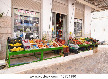 HYDRA ISLAND GREECE, MAY 27 2016: traditional greengrocer shop at Hydra island Greece. Editorial use.