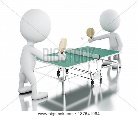 3d renderer image. White people playing ping pong. Sport concept. Isolated white background.