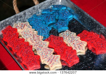 Red, white and blue cookies shaped as an American flag