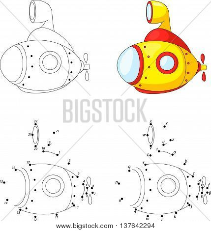 Cartoon Submarine. Coloring Book And Dot To Dot Game For Kids
