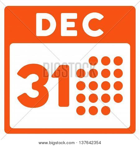 Last Year Date vector icon. Style is flat symbol, orange color, rounded angles, white background.