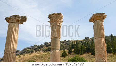 Ancient Ruins and Remains in Ephesus Turkey. Ephesus Contains Large Collection of Roman Ruins.