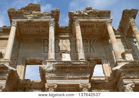 Facade of Ancient Celsius Library in Ephesus Turkey. Ephesus Contains Large Collection of Roman Ruins.
