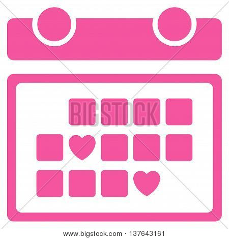Favourite Days vector icon. Style is flat symbol, pink color, rounded angles, white background.