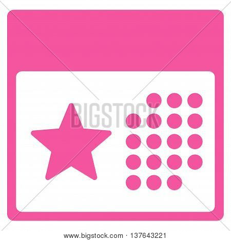Holiday Organizer vector icon. Style is flat symbol, pink color, rounded angles, white background.