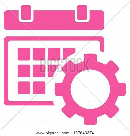 Schedule Configuration vector icon. Style is flat symbol, pink color, rounded angles, white background.