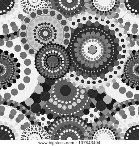 Mechanical seamless pattern black white gray circles. Technological gear wheel mechanism vector ornament.
