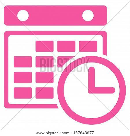 Timetable vector icon. Style is flat symbol, pink color, rounded angles, white background.