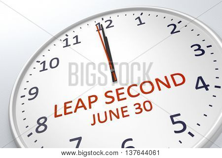 3d rendering of a clock showing leap second at june 30