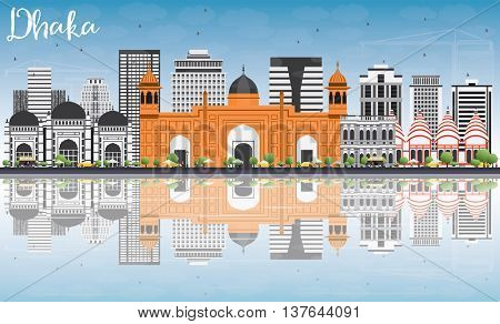 Dhaka Skyline with Gray Buildings, Blue Sky and Reflections. Vector Illustration. Business Travel and Tourism Concept with Historic Buildings. Image for Presentation Banner Placard and Web Site.