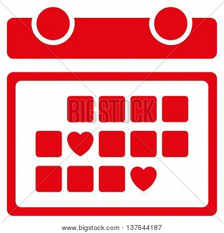 Favourite Days vector icon. Style is flat symbol, red color, rounded angles, white background.