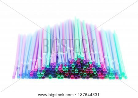 Colorful drinking straws isolated on a white