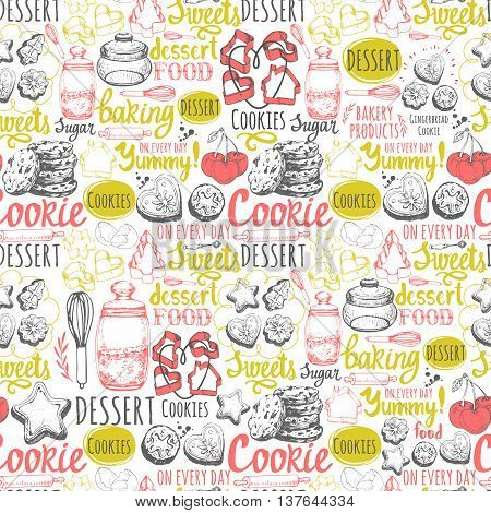 Vector Illustration with funny baking lettering and labels on white background. Decorative elements for your packing design. Multicolor menu pattern.