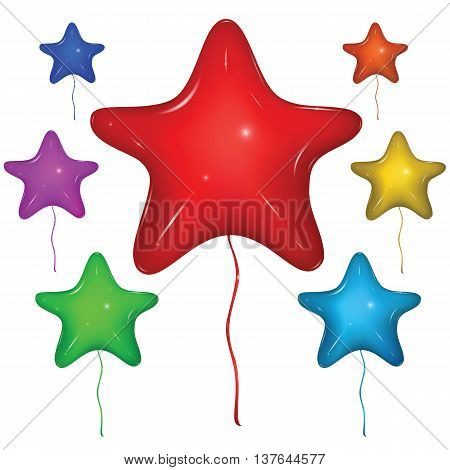 Set of shiny vector star balloons with strings: red green blue purple orange yellow. Isolated on white background.