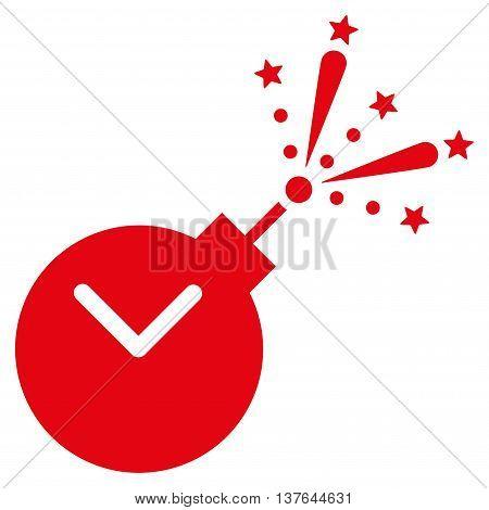 Time Fireworks Charge vector icon. Style is flat symbol, red color, rounded angles, white background.