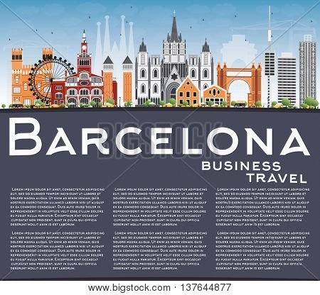 Barcelona Skyline with Color Buildings, Blue Sky and Reflections. Vector Illustration. Business Travel and Tourism Concept with Historic Buildings. Image for Presentation Banner Placard and Web Site.