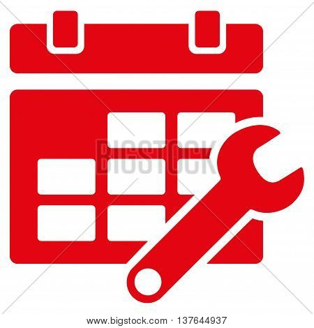 Timetable Adjustment vector icon. Style is flat symbol, red color, rounded angles, white background.