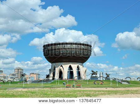 Kazan, Tatarstan, Russia - July 6, 2016. Kazan Central Wedding Palace. Sculptor Dashi Namdakov.