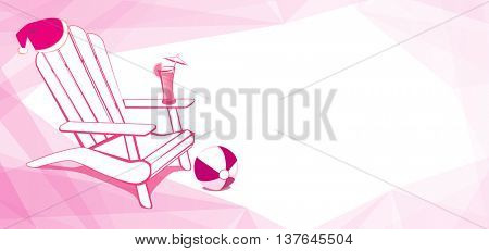 Adirondack Beach chair with Santa Claus hat and Drink. White and Pink vector illustration with place for your copy text. EPS10