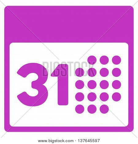 Last Month Date vector icon. Style is flat symbol, violet color, rounded angles, white background.