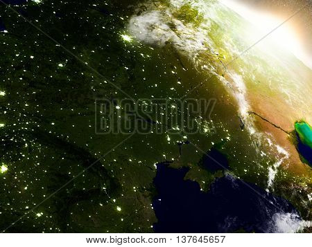 Ukraine From Space During Sunrise